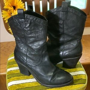Sam Edelman | Short Black Leather Cowboy Boots